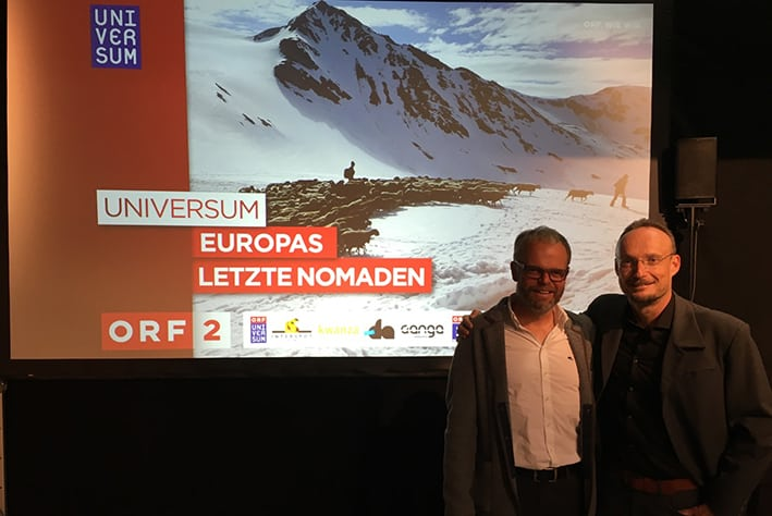 "Gernot Lercher and Franz Schüttelkopf at the presentation of  the ORF Universum nature documentary ""The Last Nomads"" at Vienna. © Adler Arena"