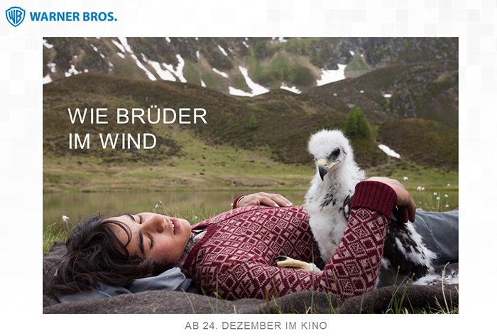 Film Wie Brüder im Wind mit Steinadler von Adlerarena Burg Landskron in Kärnten